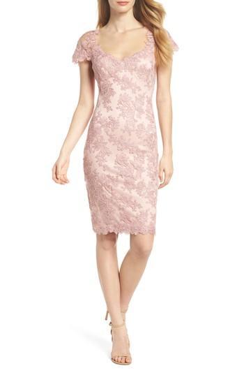 Petite Women's Tadashi Shoji Corded Lace Sheath Dress P - Pink