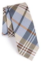 Men's The Tie Bar Plaid Silk & Linen Tie, Size - Blue