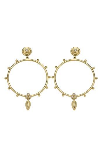 Women's Temple St Clair 18k Gold & Diamond Circle Anfora Earrings