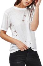 Women's Topshop Distressed Tee Us (fits Like 0) - White
