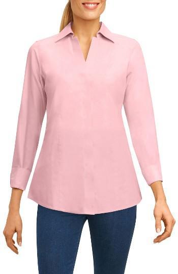 Petite Women's Foxcroft Fitted Three Quarter Sleeve Shirt P - Blue