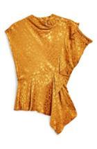 Women's Topshop Jacquard Ruffle Blouse Us (fits Like 0) - Yellow