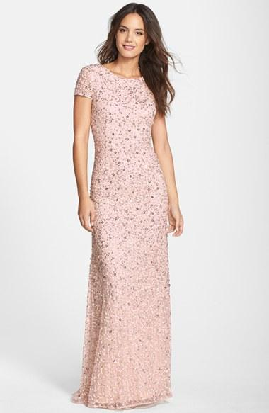 Petite Women's Adrianna Papell Short Sleeve Sequin Mesh Gown,