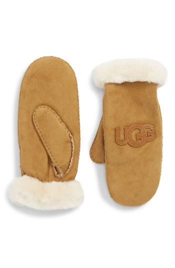 Women's Ugg Logo Genuine Shearling Mittens - Brown