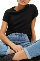 Women's Topshop Rollback Tee Us (fits Like 0) - Black
