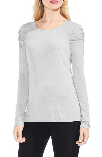 Petite Women's Vince Camuto Scrunch Neck Top, Size P - Grey