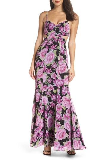Women's Fame And Partners The Sienne Cutout Waist Gown - Black