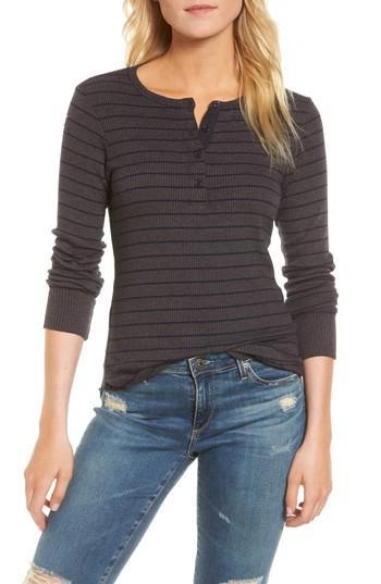 Women's Sundry Stripe Rib Henley - Grey