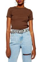 Women's Topshop Scallop Edge Tee Us (fits Like 0) - Brown