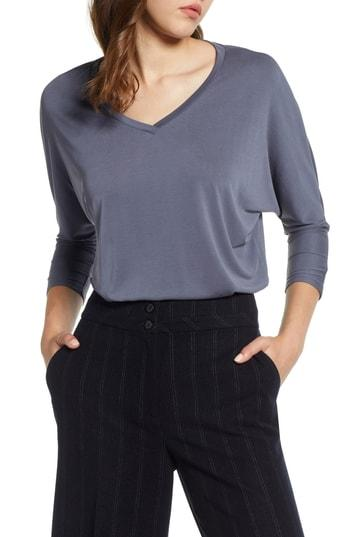 Women's Halogen Relaxed V-neck Top, Size - Grey