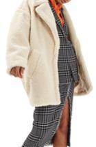 Women's Topshop Borg Cocoon Coat Us (fits Like 0) - Ivory
