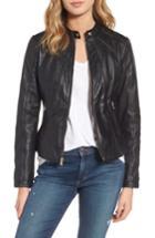 Women's Guess Collarless Leather Moto Jacket - Black