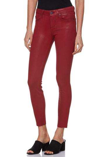 Women's Paige Transcend - Verdugo High Waist Ankle Skinny Jeans - Red