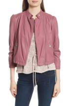 Women's Rebecca Taylor Garment Washed Leather Moto Jacket - Pink