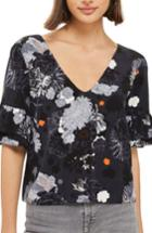 Women's Topshop Floral Ruffle Blouse Us (fits Like 0) - Black