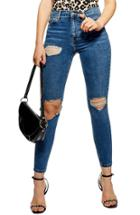 Women's Topshop Jamie Ripped High Waist Skinny Jeans W X 30l (fits Like 24w) - Blue