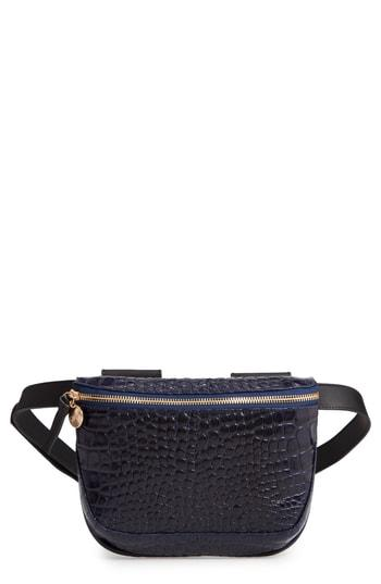 Clare V. Croc Embossed Leather Fanny Pack - Black