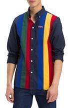 Men's Tommy Jeans Tjm Pieced Stripe Button Down Shirt - Blue