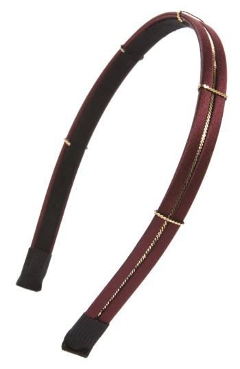 Cara Skinny Metal Chain Headband, Size - Burgundy