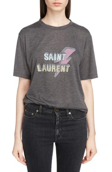 Women's Saint Laurent Lightning Logo Tee