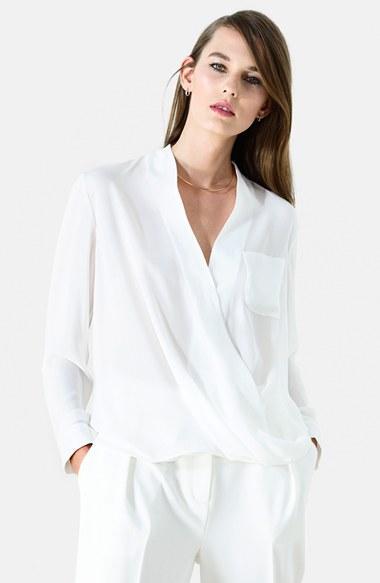 Women's Topshop Surplice Pocket Blouse, Size 2 (0 Us) - Ivory