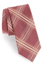 Men's The Tie Bar Kp Plaid Silk & Linen Tie