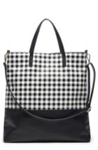 Sole Society Gingham Faux Leather Tote - Black