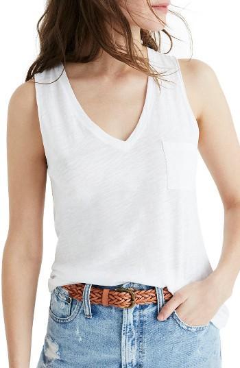 Women's Madewell Whisper Cotton V-neck Tank - White