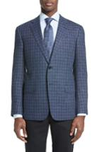 Men's Armani Collezioni Trim Fit Check Sport Coat R - Blue