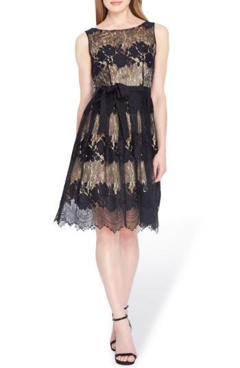 Petite Women's Tahari Lace Fit & Flare Dress P - Black