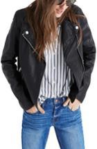 Women's Madewell Washed Leather Moto Jacket - Black