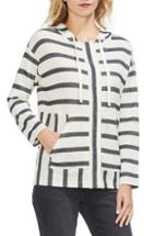 Women's Vince Camuto Stripe Pique Hooded Jacket, Size - Ivory
