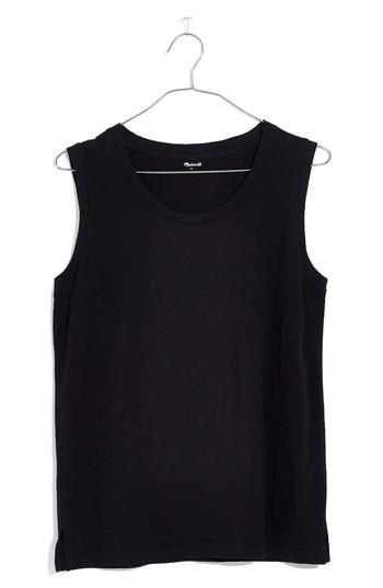 Women's Madewell Whisper Cotton Crewneck Muscle Tank, Size - Black