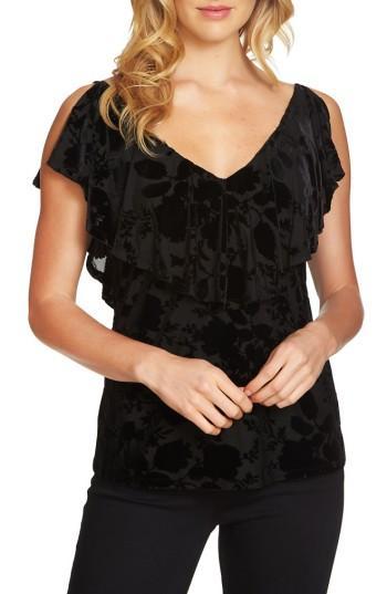 Women's 1.state Velvet Burnout Top, Size - Black