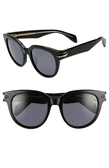 Women's Rag & Bone 54mm Cat Eye Sunglasses - Black/ Crystal