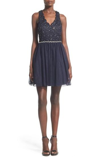 Junior Women's Way-in 'belle' Embellished Skater Dress