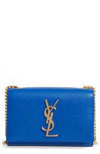 Saint Laurent 'mini Monogram' Crossbody Bag - Blue