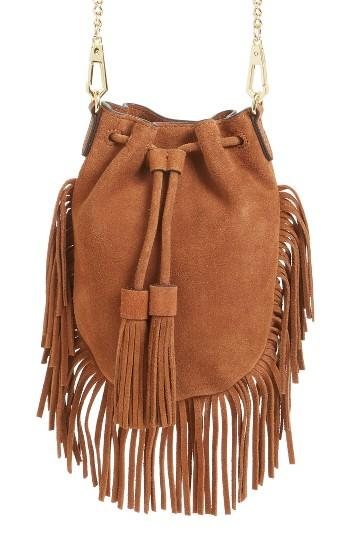 Rebecca Minkoff Fallen Suede Phone Crossbody Bag - Brown