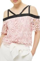 Women's Topshop Strappy Lace Top Us (fits Like 0) - Pink