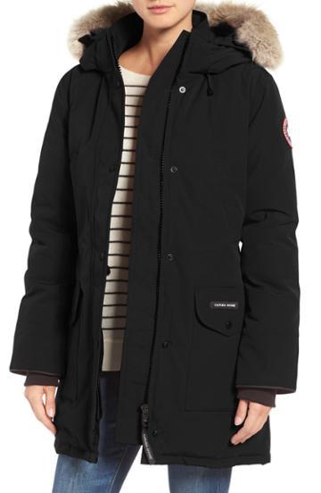 Petite Women's Canada Goose Trillium Fusion Fit Hooded Parka With Genuine Coyote Fur Trim P (14-16p) - Black