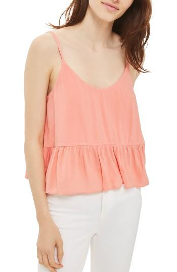 Petite Women's Topshop Peplum Camisole P Us (fits Like 0p) - Coral