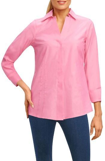 Petite Women's Foxcroft Fitted Three Quarter Sleeve Shirt P - Pink