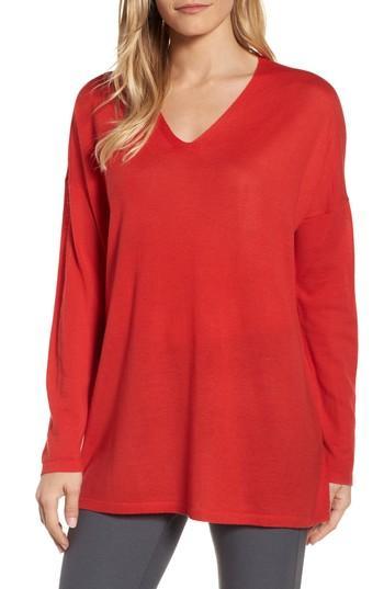 Petite Women's Eileen Fisher Merino Wool Tunic Sweater, Size P - Red