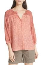 Women's Joie Jafeth Reverse Pattern Silk Peasant Top - Red