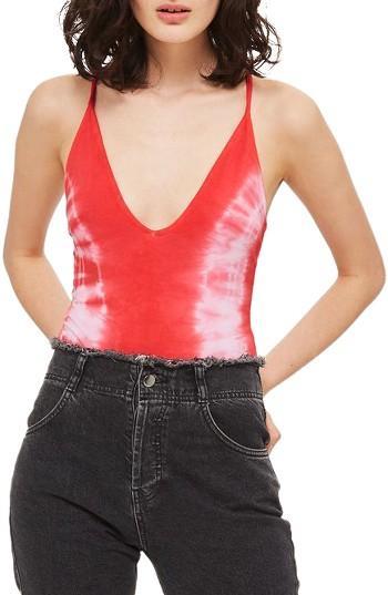 Women's Topshop Tie Dye Bodysuit Us (fits Like 0) - Orange