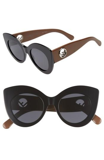 Women's Fendi 50mm Oversized Cat Eye Sunglasses - Black/ Brown