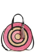 Rebecca Minkoff Woven Straw Circle Tote - Pink
