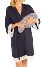 Women's Angel Maternity Nursing Dress, Robe & Baby Blanket Pouch Set, Size - Blue