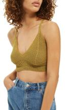 Women's Topshop Crochet Bralette Us (fits Like 2-4) - Green
