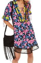 Women's Topshop Floral Print Minidress Us (fits Like 0) - Blue